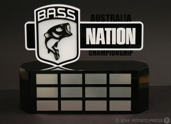 Bass-nation-fishing-big-trophy-acrylic-2pac-gloss-layer-laser-lasercut-etch-timber-custom-goldcoast-gold-coast-sydney-brisbane-melbourne-australia