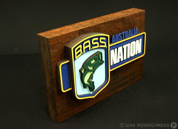 Bass-nation-fishing-trophy-wood-layer-laser-lasercut-etch-timber-custom-goldcoast-gold-coast-sydney-brisbane-melbourne-australia