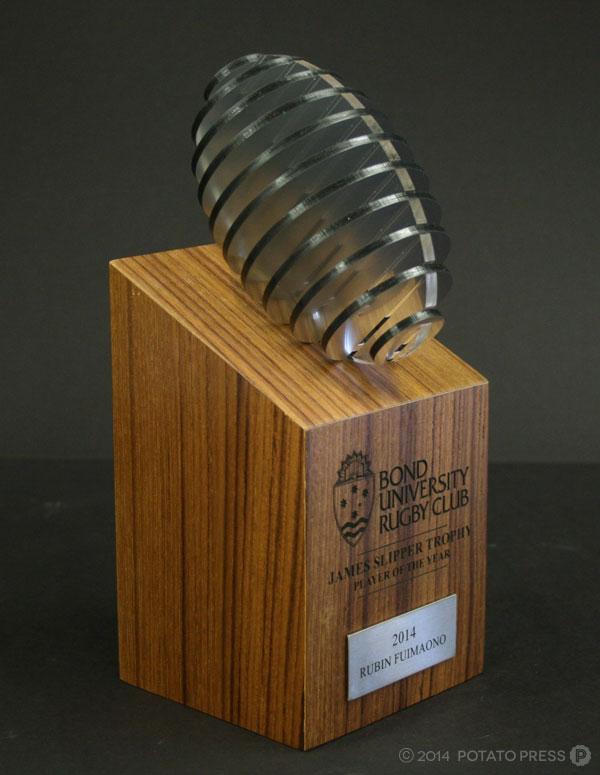 Bond-uni-university-laser-small-angle-front-footy-angle-football-trophy-perpetual-custom-work-bespoke-wood-timber-australi-international-brisbane-melbourne-goldcoast-sydney