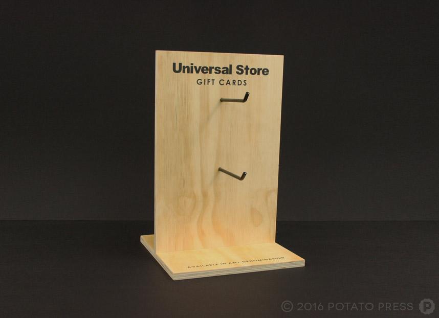 potato-press-universal-store-gift-card-holder-wooden-uv-printed-stand
