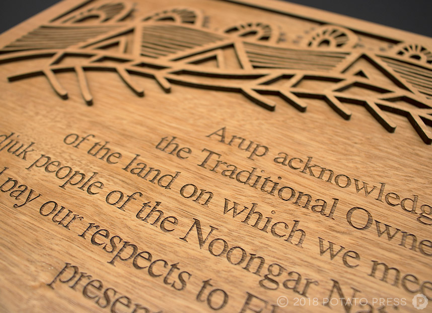 custom indigenous aboriginal timber plaque