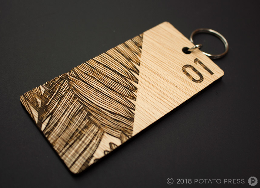 custom wood laser cut etched room key