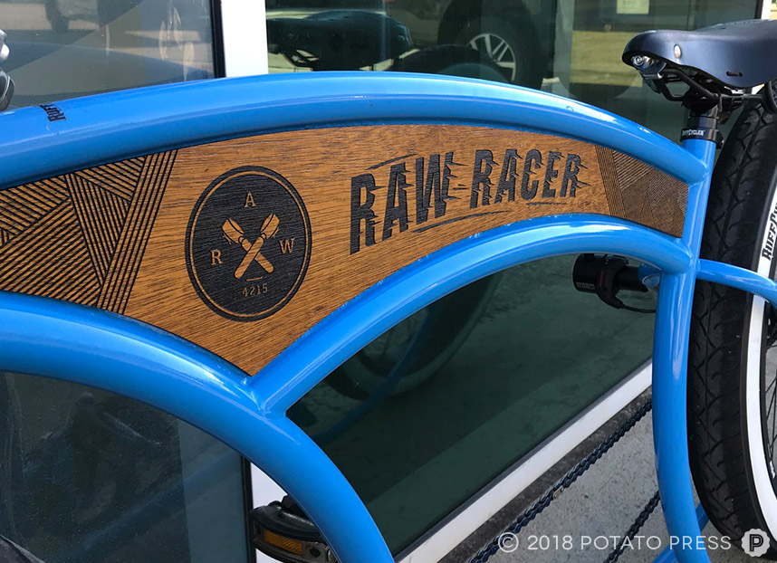 raw espresso gold coast cafe custom wooden bike decal laser