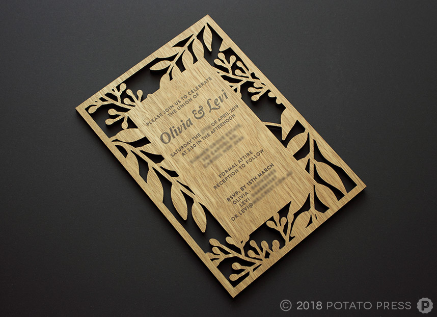 Custom Timber Wedding Invites - Potato Press